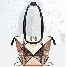 Luxury Female Designer Luminous Deformation Folding Diamond Handbags Geometric Rhombic Fashion Shoulder Bag Women Crossbody Tote