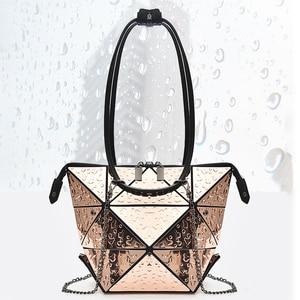 Image 1 - Luxury Female Designer Luminous Deformation Folding Diamond Handbags Geometric Rhombic Fashion Shoulder Bag Women Crossbody Tote