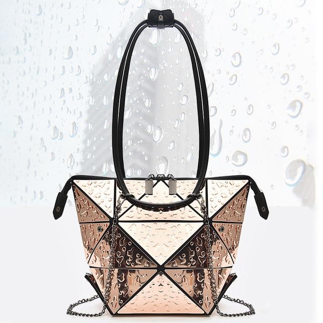Luxury Female Designer Luminous Deformation Folding Diamond Handbags Geometric Rhombic Fashion Shoulder Bag Women Crossbody Tote