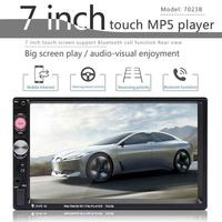 2 Din 7 Portable Car Auto Radio Stereo Audio Bluetooth Touch Reverse Camera MP5 Player USB FM Radio Receiver Phone Connection