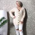 ca3fc37a7 Plus Size Moda Outono Inverno Mulheres Manga Comprida solta cardigan de  tricô De Lã Mulheres camisola