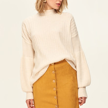 476ac3676 Trendyol Mustard Bone Button Suede Skirt Detailed TOFAW19ST0044
