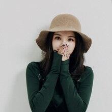 2019 Winter Vintage Fedora Hat Women Thick Cashmere Hats polyester Felt Crushable Wide Brim Floppy Cap Retro Wool Top