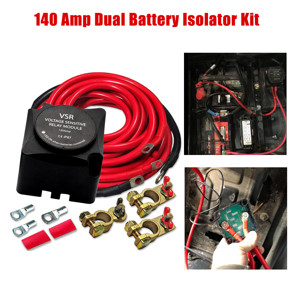 Voltage Sensitive Relay Automatic Charging Relay Dual Battery Smart Isolator 12V 140A VSR with Wiring Kit