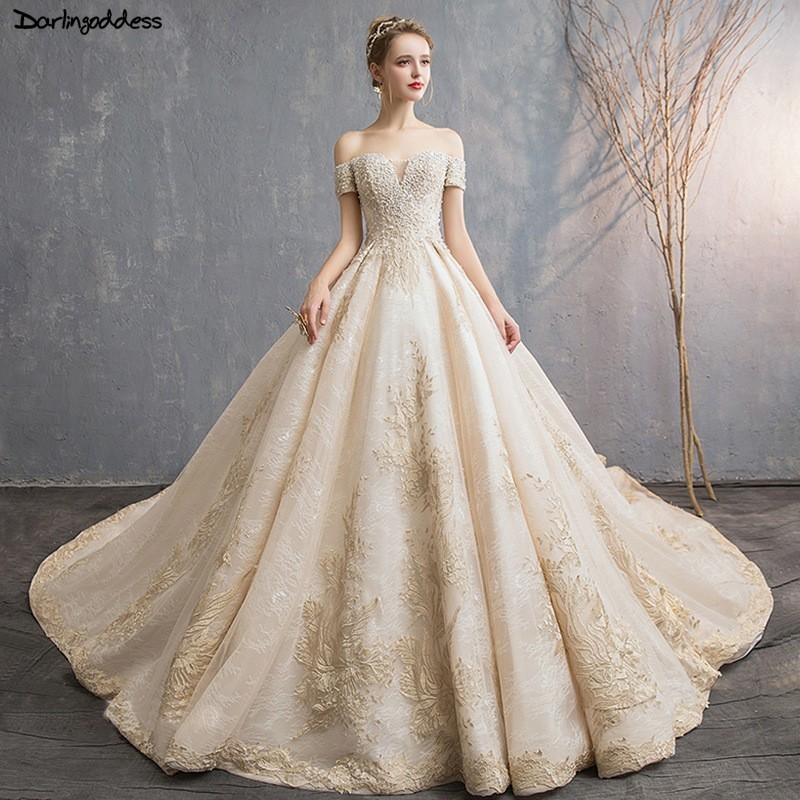 Luxury Champagne Wedding Dresses 2019 Ball Gown Princess ...