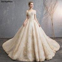 Luxury Champagne Wedding Dresses 2019 Ball Gown Princess Lace Wedding Gowns Plus Size Bridal Dress Dubai Arabic Vestido De Noiva