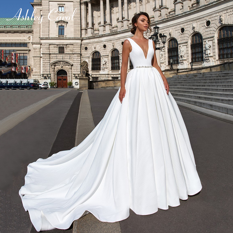 Ashley Carol Satin Ball Gown Wedding Dress 2019 Beaded V neck Sleeveless Backless Luxury Princess Bride
