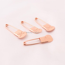 20pcs/lot 35m Rose Gold Color Brooch pins Safety Pins with pattern Sewing Tool For Women