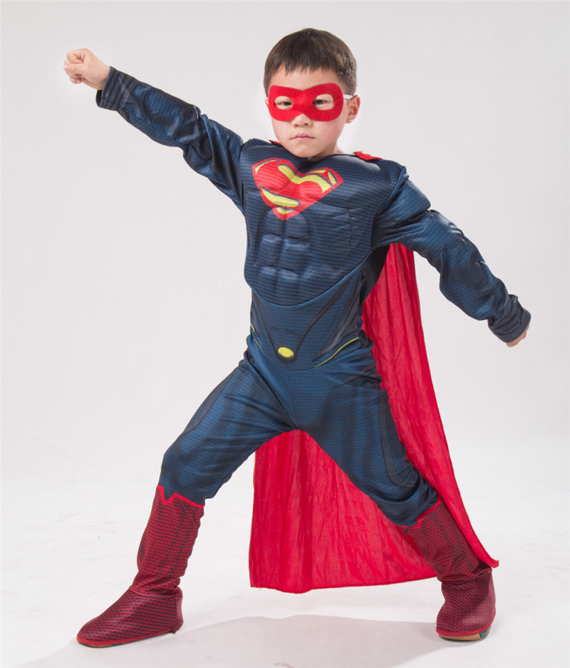Boy Superman Muscle Fancy Halloween Kid Man Of Steel Costume Book Week Outfit