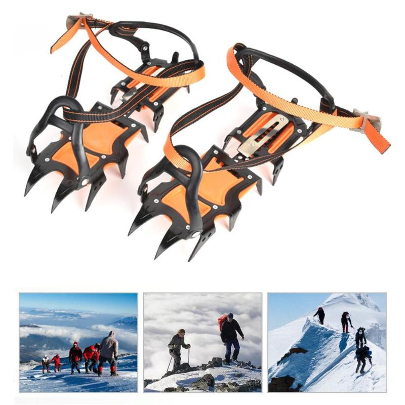 12 Studs Winter Ice Climbing Shoe Grippers Anti-Skid Crampons Manganese Steel Snow Cleats Overshoes Climbing Accessories