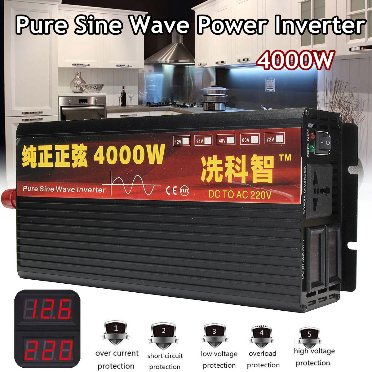 Inverter 12V 220V 2000/3000/4000W Voltage Transformer Pure Sine Wave Power Inverter DC12V To AC 220V Converter + 2 LED Display