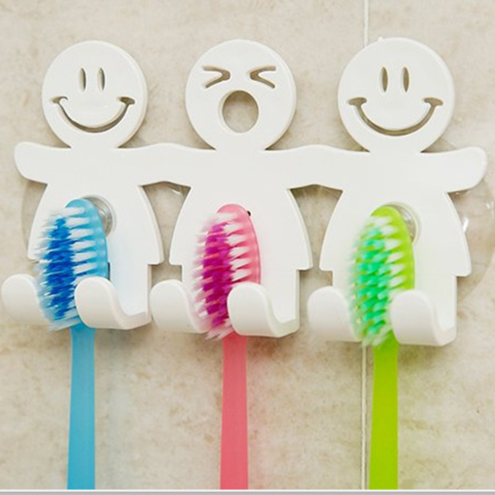 Fun Smile Face Bathroom Kitchen Toothbrush Towel Holder Wall Sucker Hook Cup Stand Toothbrush & Toothpaste Holders Top Sale image