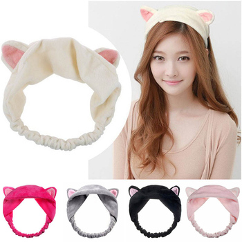 Cute Cat Ear Elastic Headbands For Girls Women Casual Party Makeup Washing Hairbands Soft Velvet Hair Accessories Free Shipping image