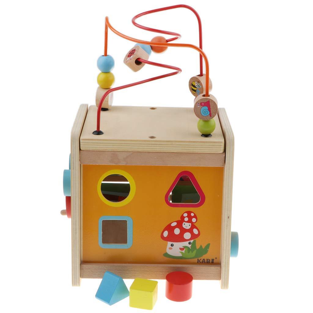 5 en 1 Cube en bois blocs géométriques Puzzle perle labyrinthe animaux retournés blocs jeu jouets éducatifs pour enfants enfants