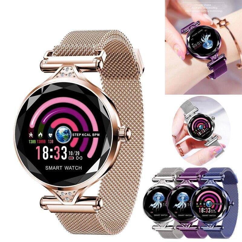 Montre connectée femmes coeur taux sang pression traqueur de remise en forme montres podomètre Lady physiologiques cycle bracelet étanche