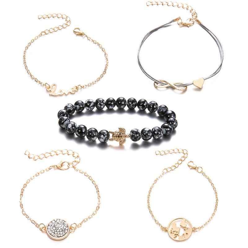 291f4cda08bef Elegant Gray Beads Bracelets Bohemian Creative World Map Turtle Love Heart  Infinity Charm Bracelets Set Fashion Jewelry