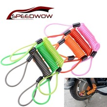SPEEDWOW Motorcycle Spring Rope Wheel Locks Bicycle Disc Lock Security Anti-Theft Cable Reminder Cable Motorbike Accessories disc locks pick