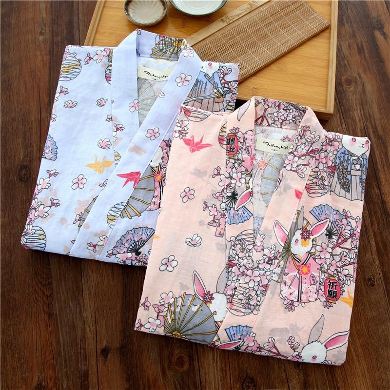 Dünne Lose Strickjacke Pyjamas Set Japanischen Kimono Frau Yukata Sommer Reine Baumwolle Kurzarm Frische Süße Reizende Home Dienen Anzug