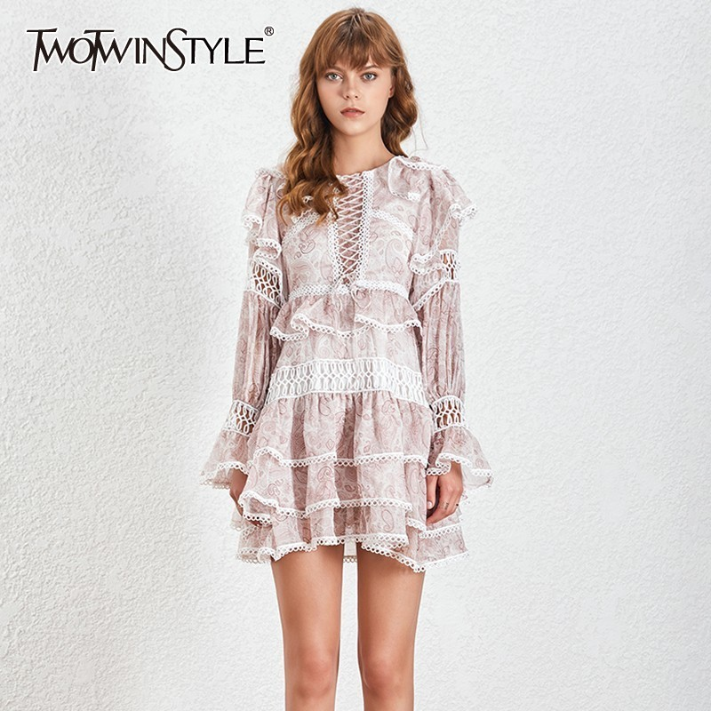 TWOTWINSTYLE Print Hollow Out Women Dress High Waist O Neck Ruffles Flae Sleeve Mini Dresses Female