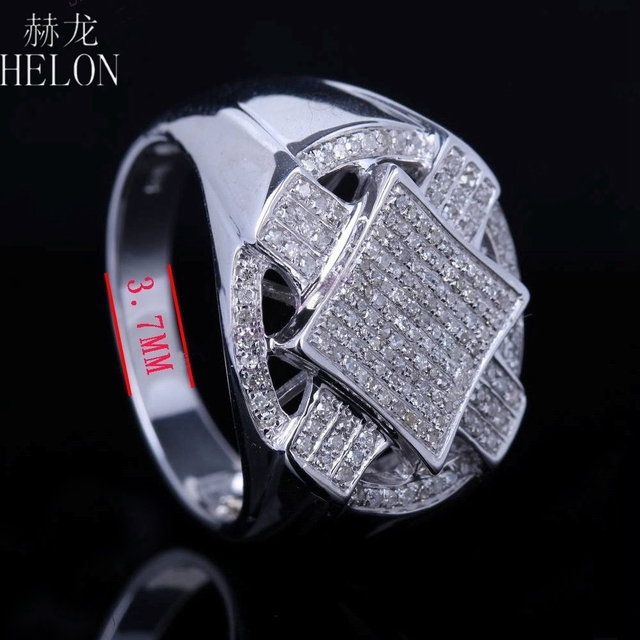 HELON 925 Sterling Silver Brilliant 0.6ct 100% Genuine Natural Diamonds Engagement Wedding Men's  Ring Band Party Jewelry