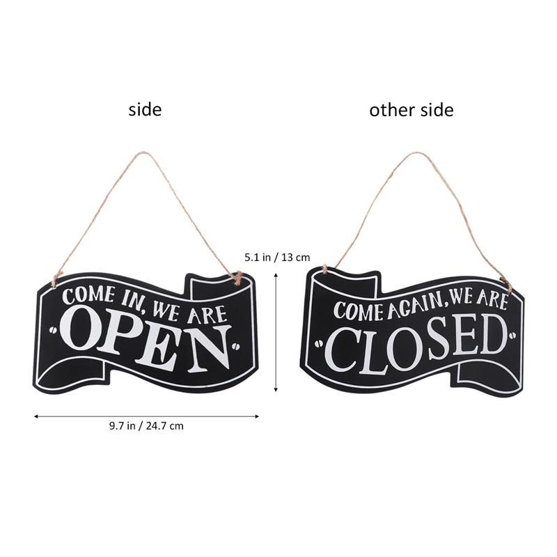 Shop Wood Door Sign Hanging Vintage Sign with Rope Open Closed Plaque White