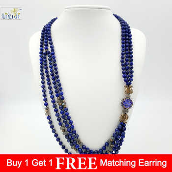 Natural Lapis lazuli,925 Sterling Silver Beads and Clasp ,Labradorite 4 StrandsFashion Women Jewelry Long Necklace - DISCOUNT ITEM  18% OFF All Category