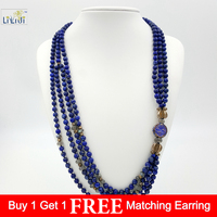 Natural Lapis lazuli,925 Sterling Silver Beads and Clasp ,Labradorite 4 StrandsFashion Women Jewelry Long Necklace