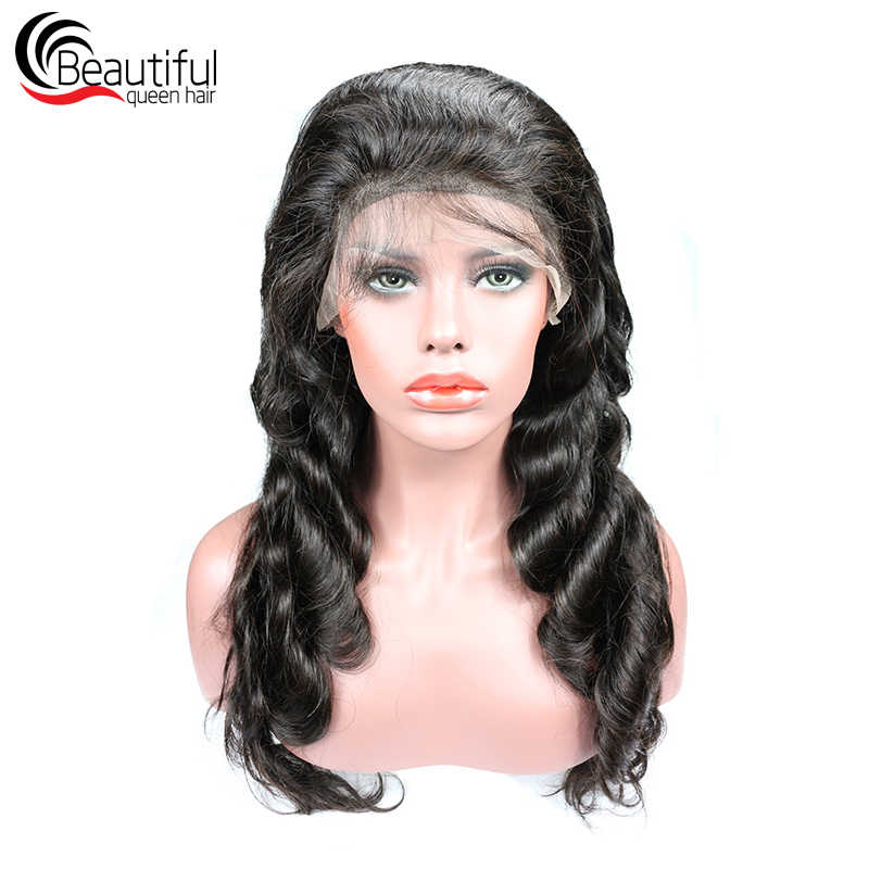 Beautiful Queen 10A Peruvian Virgin Hair Glueless Full Lace Wig Body Wave Natural Color Pre Plucked Bleached Knots Wig 12-24