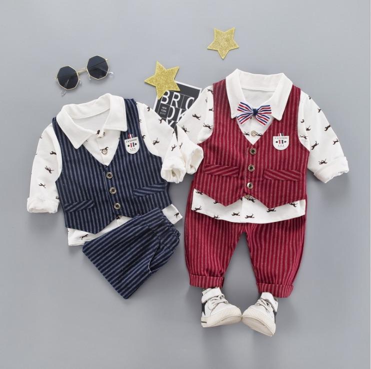 2019 New Spring Children Kid Blazer Formal Gentleman Casual Boy Suits Jackets Bowknot Tie T-shirt Pants 3pcs/sets Infant Clothes