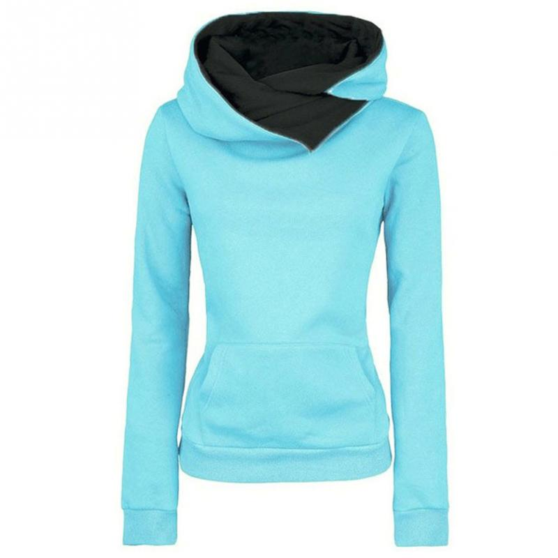 Autumn Winter Chic Design Casual Solid Women Hoodies Lapel Solid Color Hooded Sweatshirts Pullovers Turn-down Collar Top~