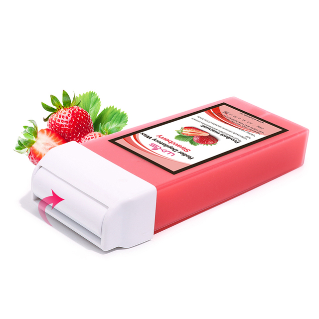 100g Depilatory Wax Cartridge Hair Removal Cream Beeswax 5 Flavor Strawberry Rose Chocolate Honey Roll-On Hot Wax All Types Skin 4