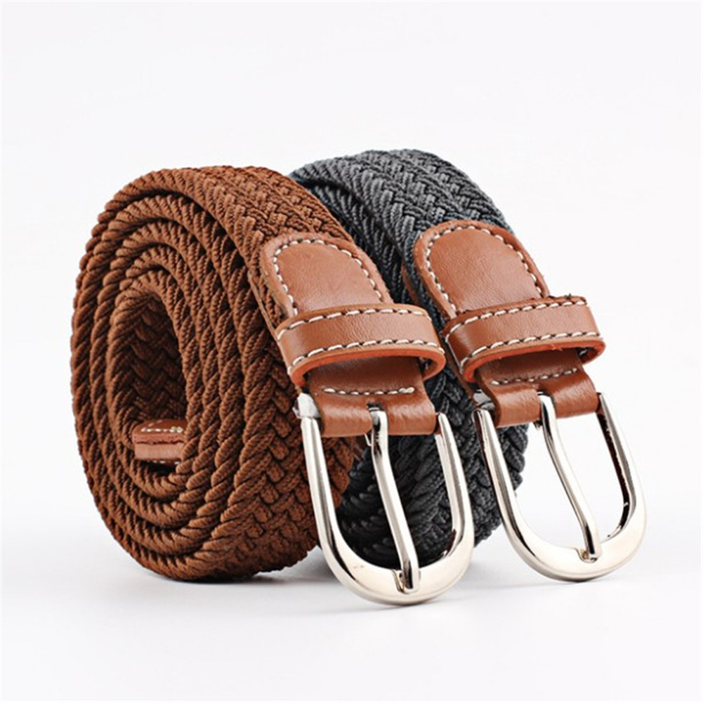 Mens Leather Dress Casual Weave Braided Belts Pin Buckle Waistband Strap