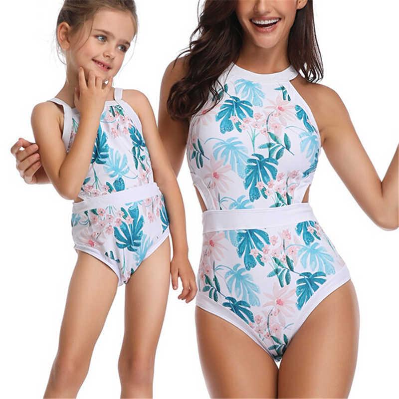 821524fa2774bf ... Matka córka stroje kąpielowe kobiety dzieci bikini dziewczęce kostiumy  kąpielowe Floral jeden kawałek strój kąpielowy jednakowe ...