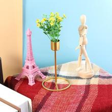 European Gold Single Head Metal Candle Holders Convenient Romantic Creative Candlestick Stand Candelabra For Home Decoration