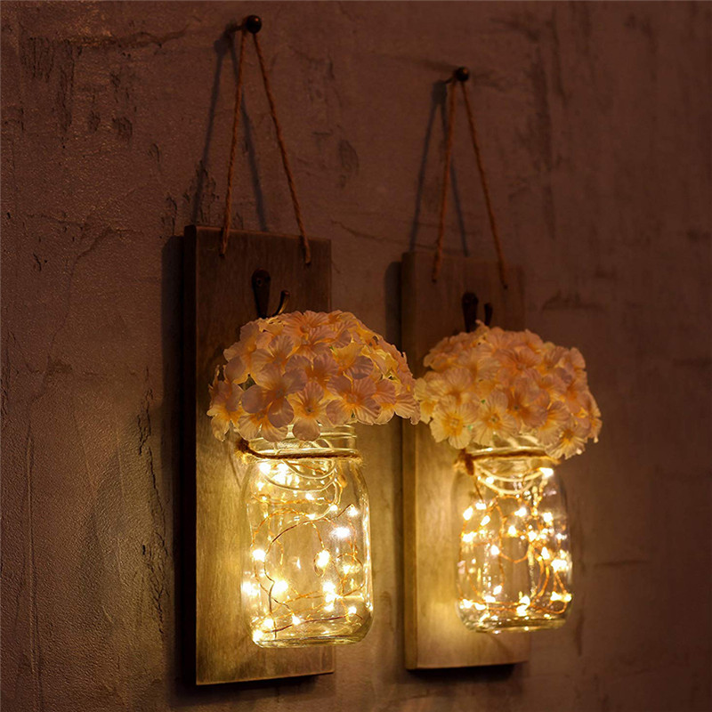 Maçon base de la LED maçon bois vase lampe 2 parc bocal décor LED clair belle et bête sauvage sur le bois D20