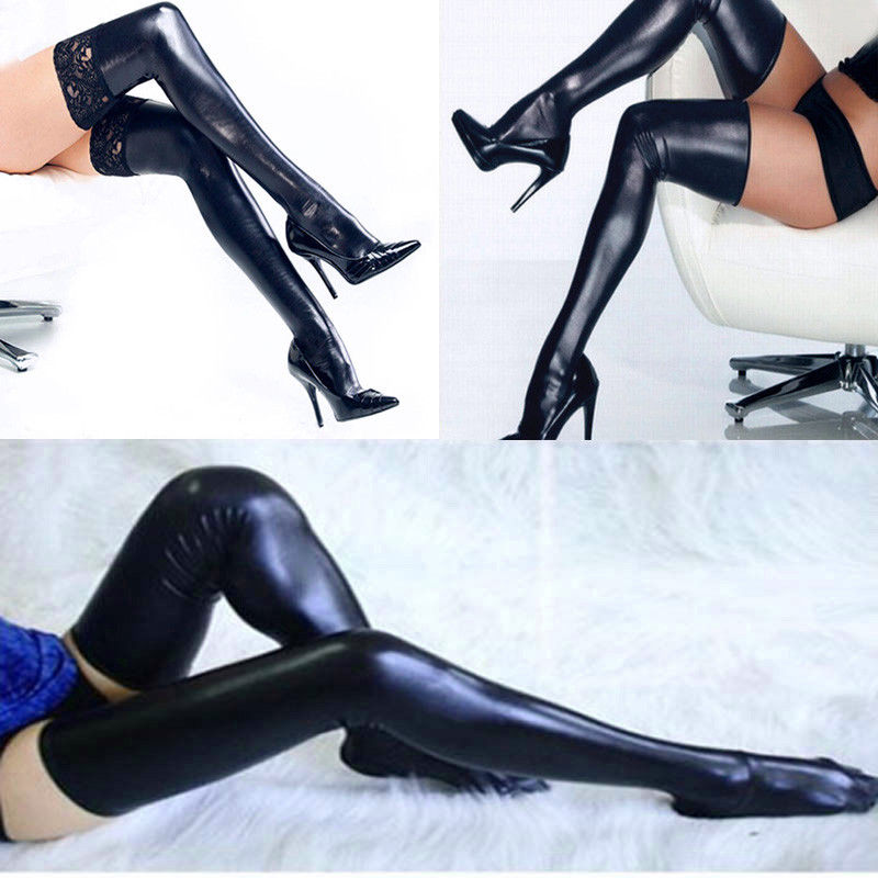 Womens Ladies Sexy PU Leather Lace Over Knee Long Thigh High Wet Look Stockings
