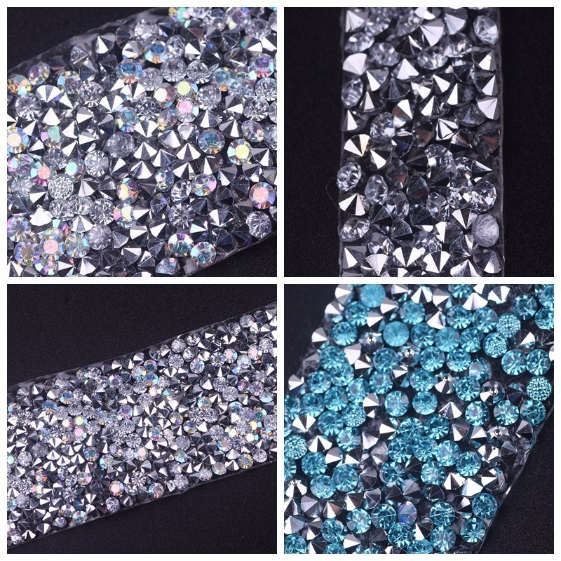 Pulaqi length 20mm Rhinestones Strass Crystal Chain Hot Fix Glitter Decor For Dress Crafts Motifs Ribbon DIY Shoes Applique H in Rhinestones from Home Garden