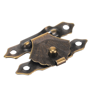 Mayitr 12Pcs Mini Antique Brass Wooden Case Hasps Jewelry Gift Box Drawer Latches Decorative Hasp Latch Buckle Clasp