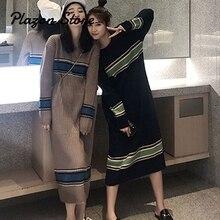 Harajuku Sweater Long Dress Elegant Winter Sleeve O-neck Casual Women Constrat Color Korean