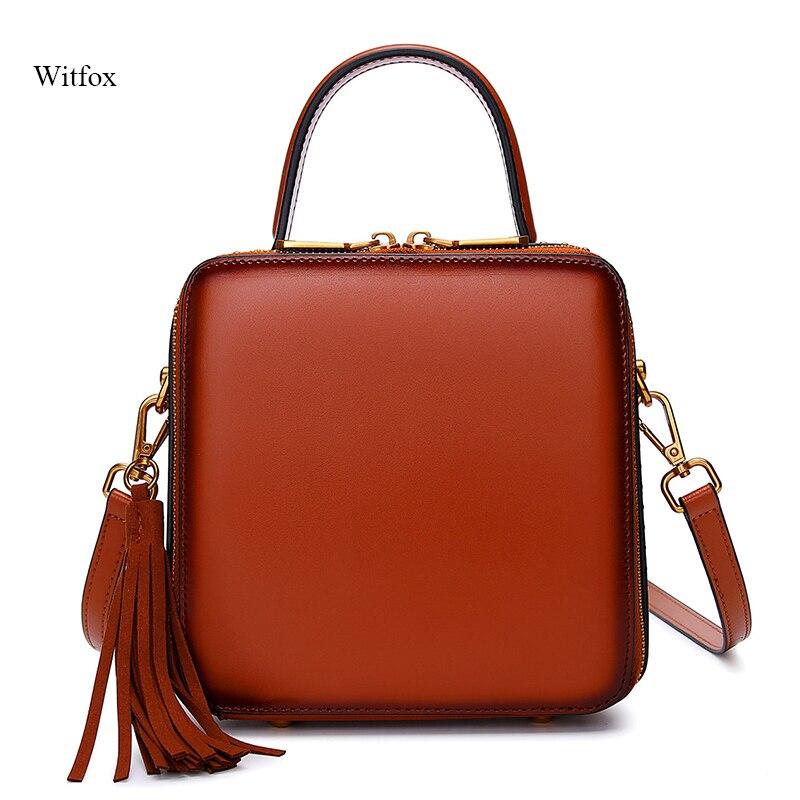 Women bag genuine leather Messenger bags for woman 2019 NEW Tassel Rivet fashion crossbody shoulder bag
