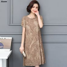 Elegant Casual Women Floral Dresses Plus Sizes M-5XL NEW 2018 Clothing Summer Style Lace Chiffon A-line Dress Xnxee