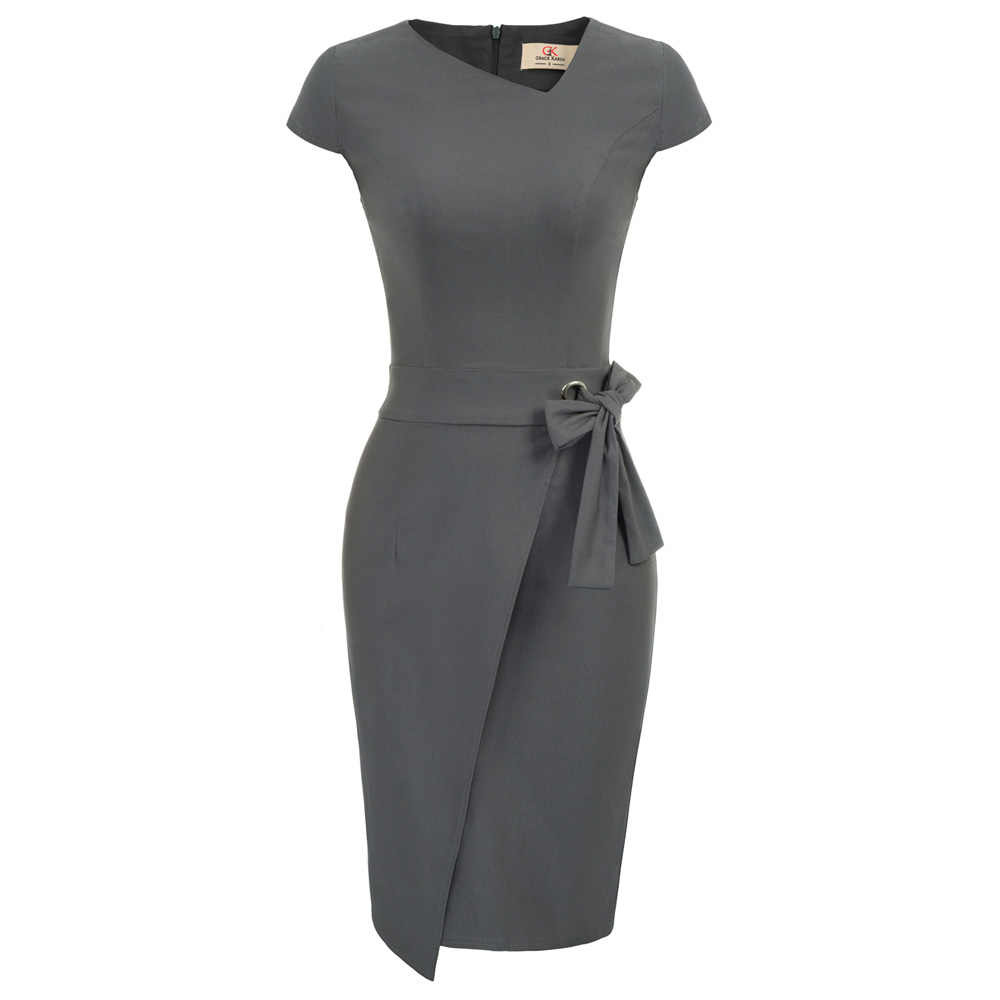 GK Women Vintage dresses Cap Sleeve Irregular Neck split Hips-wrapped  bowknot decor classy fitting 217f5e2a70ef