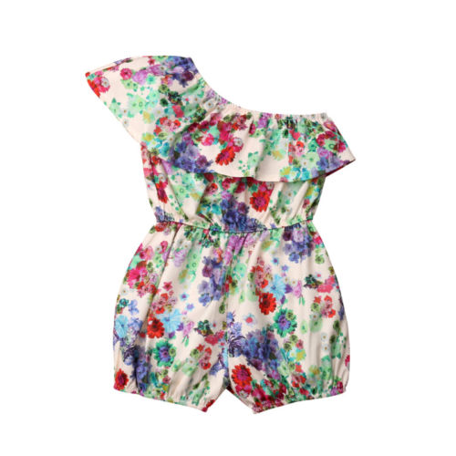 4ff1f6fa4f9 1 5Years Toddler Kids Baby Girl Floral Off Shoulder Romper Jumpsuit Outfits  Clothes-in Rompers from Mother   Kids on Aliexpress.com