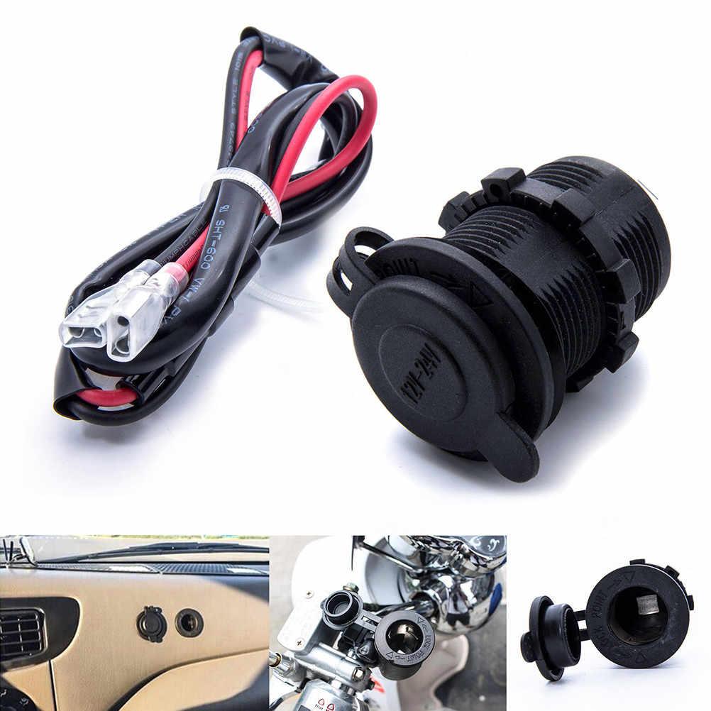 1pc DC 12V/24V Universal Car Cigarette Lighter USB Charger Waterproof Motorcycle Boat Tractor Outlet Socket 60cm Cable (Black)
