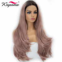 Long Pink Synthetic Lace Front Wig Natural Straight Ash Pink Wigs for Women 22'' Ombre Wig Dark Roots to Bean Paste Color Fiber