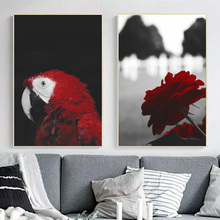 Nature Red Parrot Mountain Rose Landscape Wall Art Canvas Painting Nordic Posters And Prints Pictures For Living Room Decor