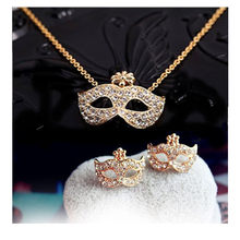 H11 Full Rhinestones Mask Jewelry Set Wholesale Gold-color Mask Stud Earrings and Necklace Fashion Vintage Jewelry For Party(China)