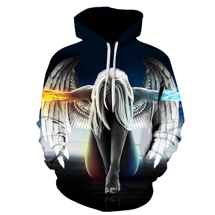 2018 autumn winter sweatshirts men's winter round neck long-sleeved hooded head loose creative 3D angel wings print