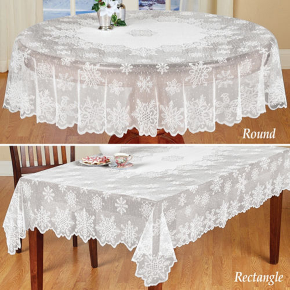 1 pc Round/Rectangle  White Lace Tablecloth Dining Table Cover