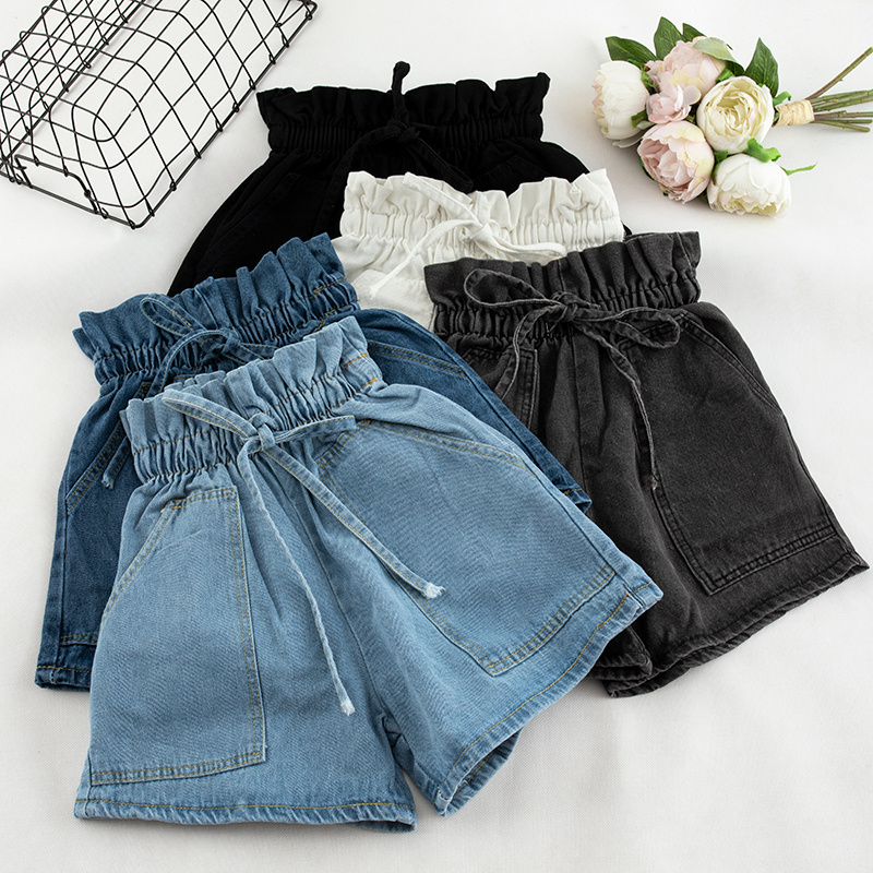 Denim Elastic High Waist Shorts Summer Blue White Student Pocket Blue White Gray Wide Leg Trouser Female Streetwear Bottoms